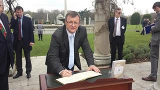 Siging the Book of Remembrance at the Irish National War Memorial Gardens in Islandbridge, Dublin