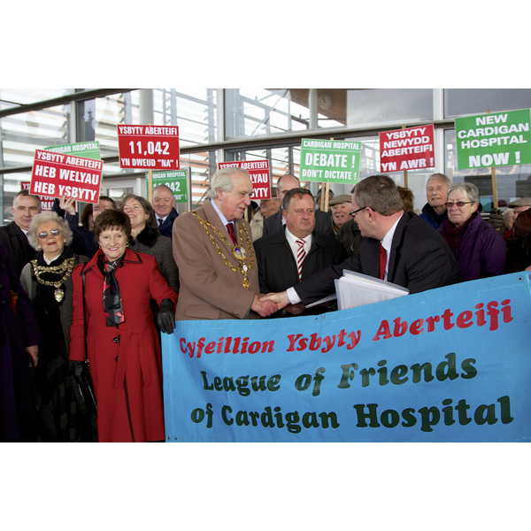 William accepts petition from Cardigan Hospital and Community League of Friends