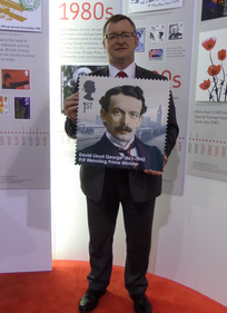 William Powell AM with Lloyd George Stamp