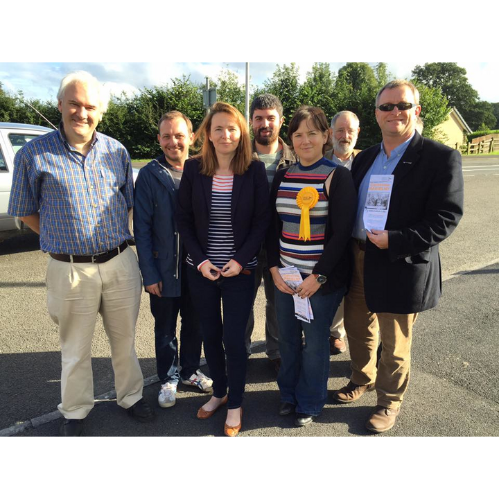 Kirsty Williams AM, Welsh Government Cabinet Secretary for Education and I join Dr Catherine Nakielny and the Carmarthenshire Lib Dems on the campaign trail